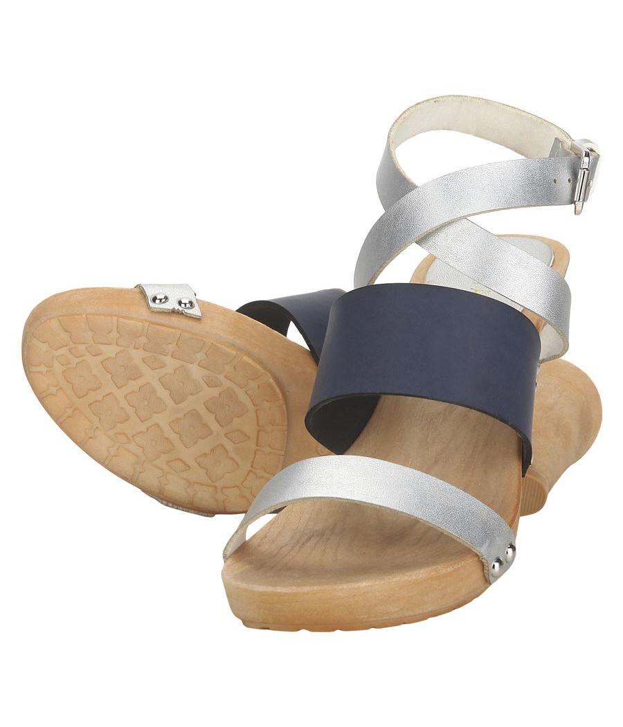 Estatos Leather Silver & Blue Buckle Closure Multi Strap Open Toe Stilettos