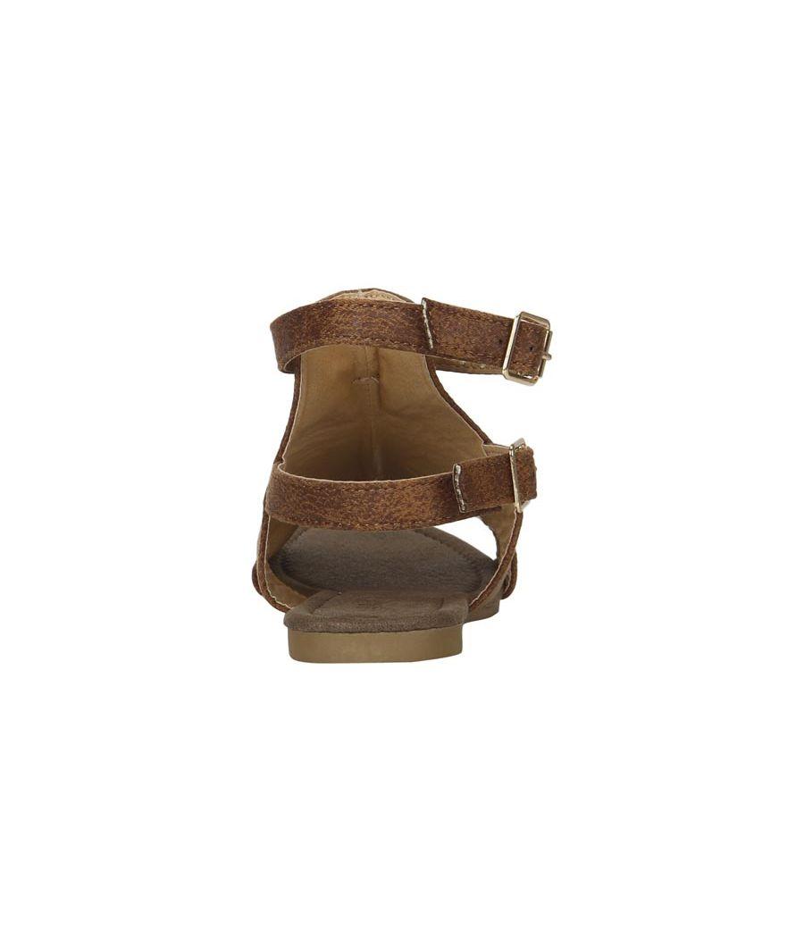 Estatos Brown Buckle Closure Ankle Strap Open Toe Flat Sandals