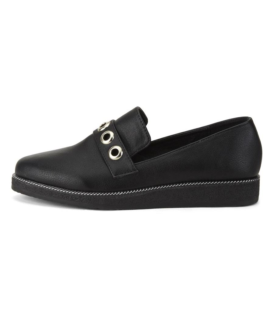 Estatos Synthetic    Leather Broad Toe Comfortable Black Shoes for Women