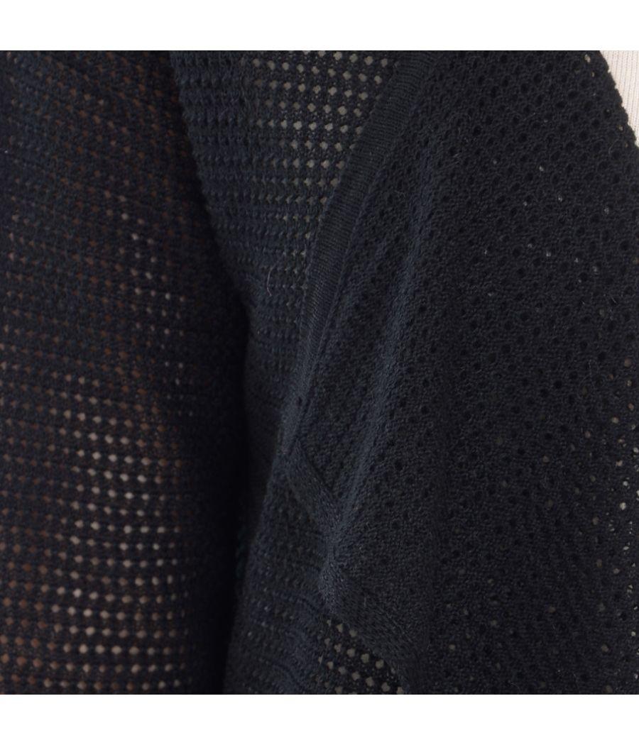 Estance Knitted  eyelet full sleeves Black Shrug