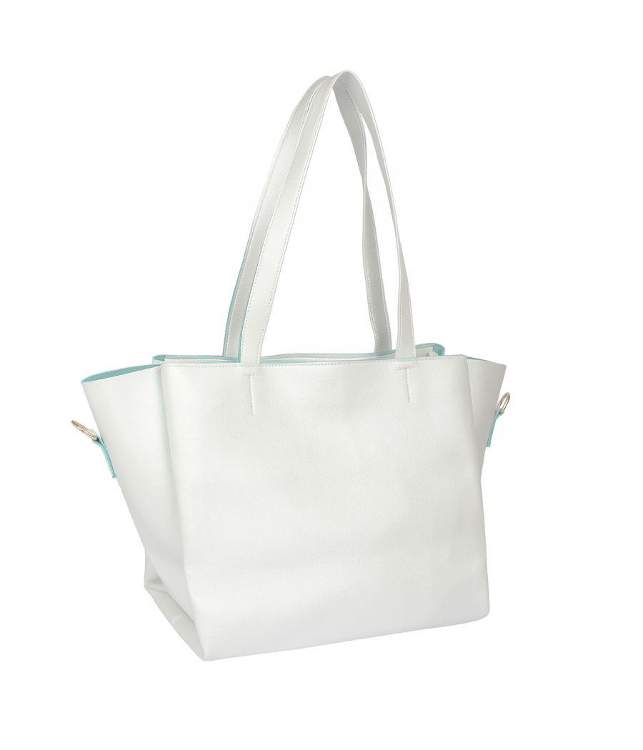 Aliado White Artificial Leather Zipper Closure Handbag