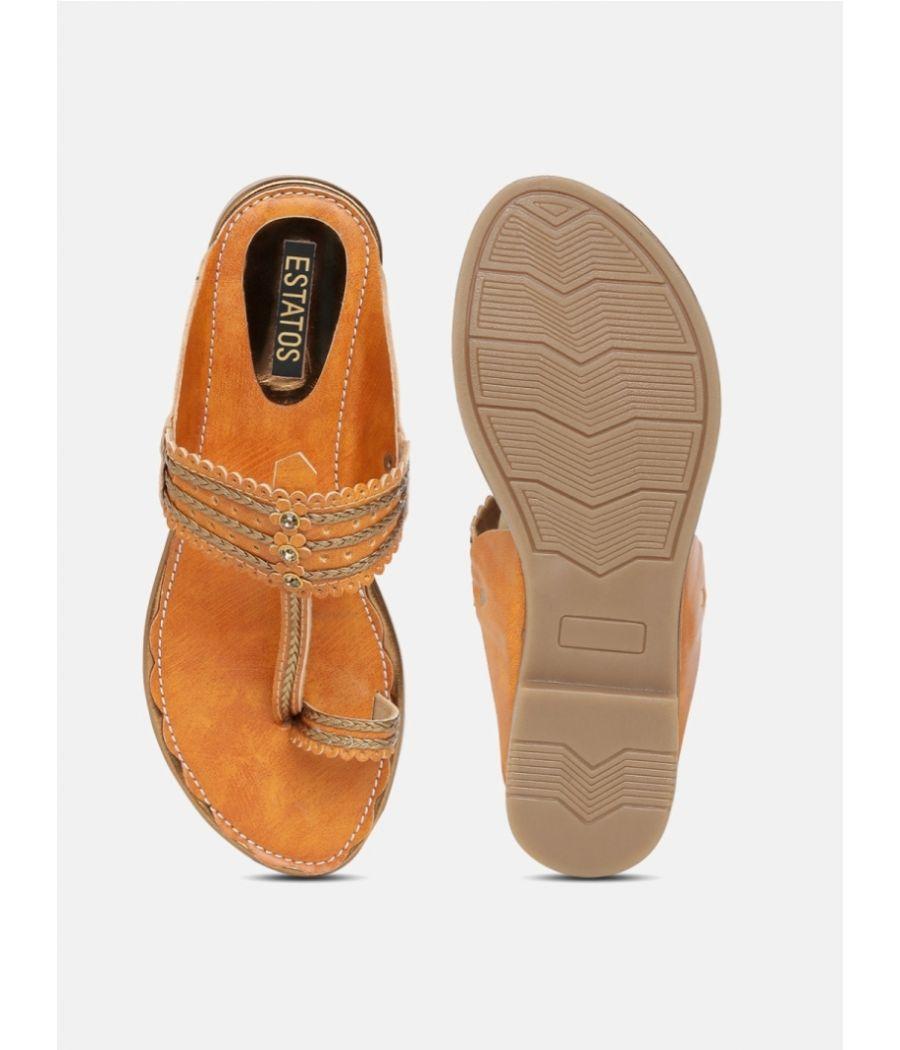 Estatos  Women Brown Flat Sandals