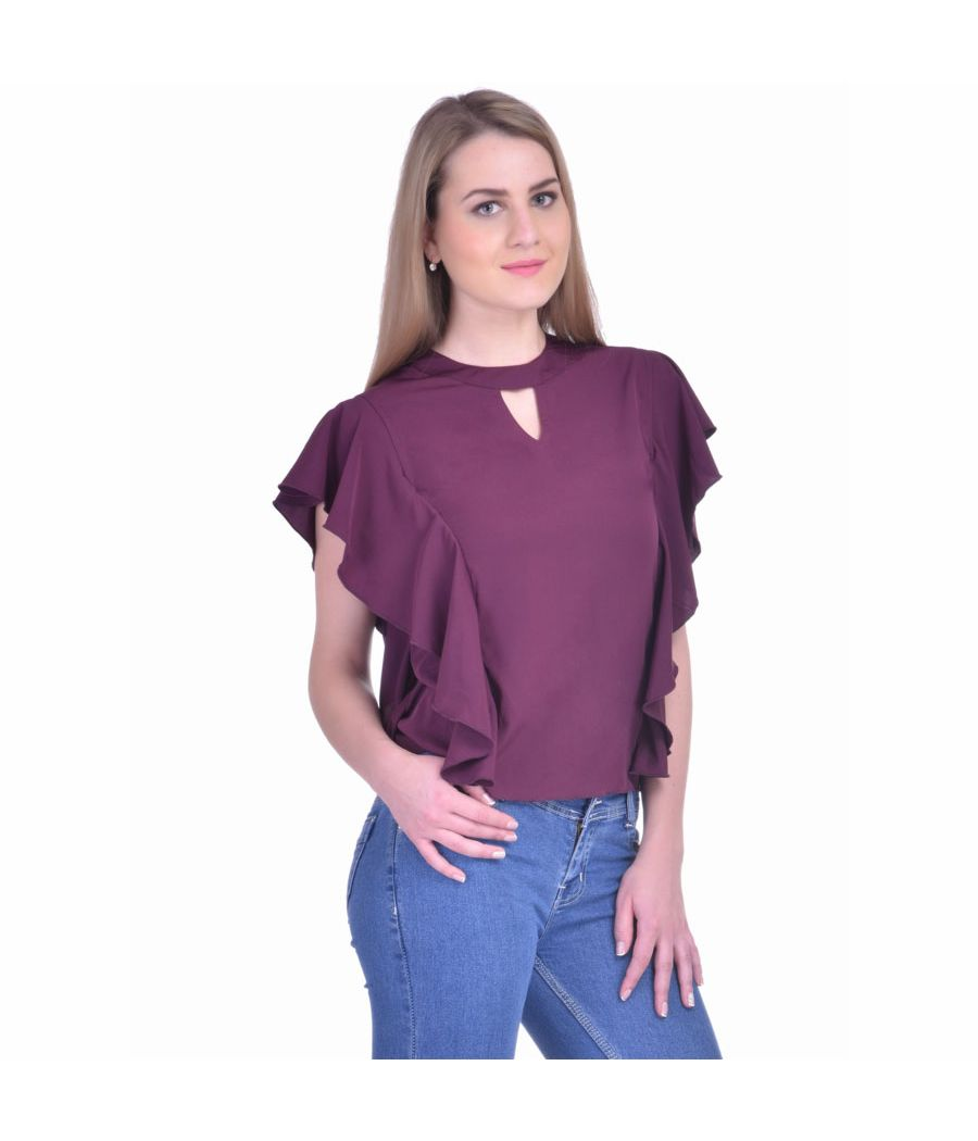 Estance Crepe Solid Burgundy Round Neck Sleeveless Ruffle Top