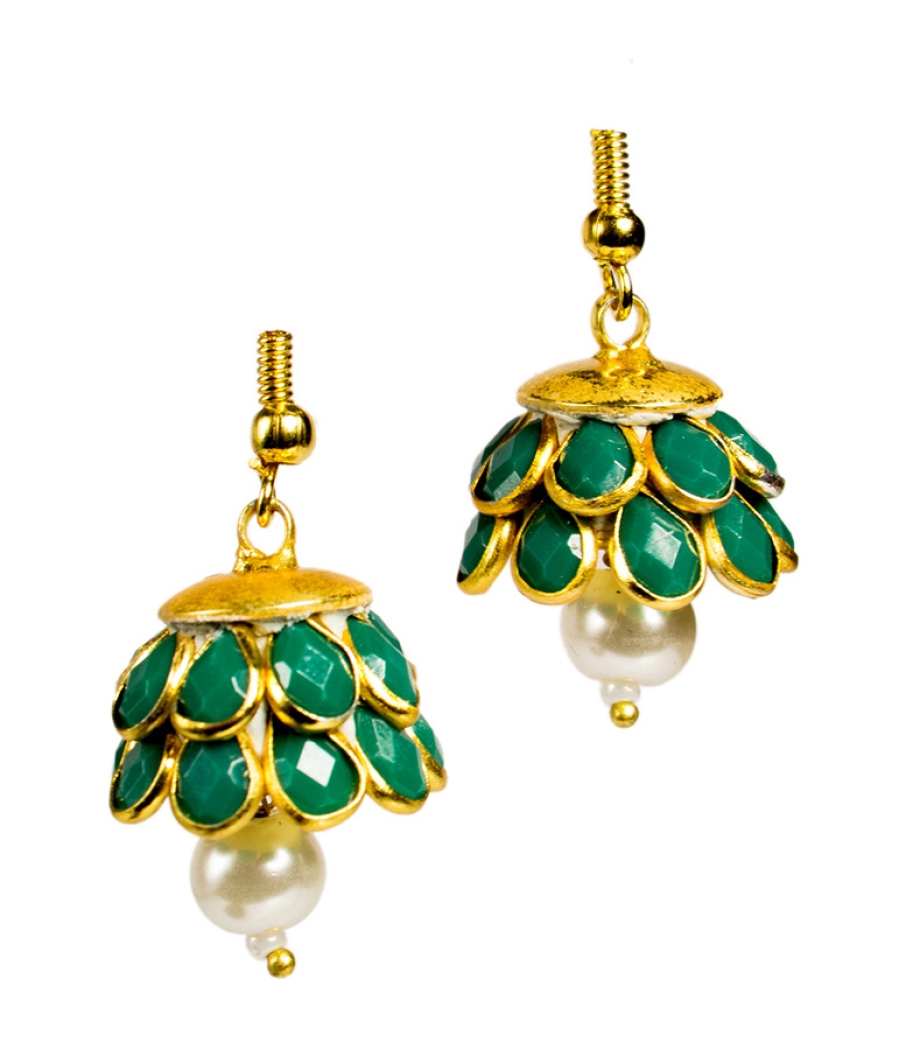 Blue Stone Jhumki with Pearl