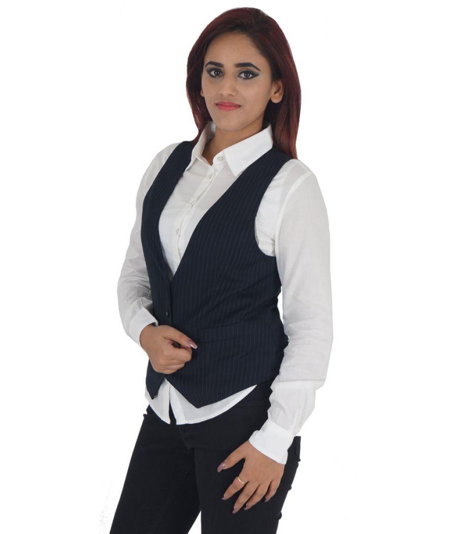 Mango Suit Polyester Striped Navy Blue Sleeveless Above Waist Formal Waistcoat