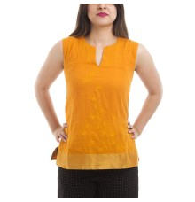 Fabindia Cotton Solid Orange Sleeveless Straight Embroidered Kurti