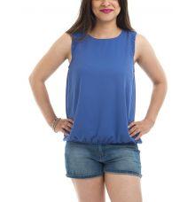Vero Moda Polyester Solid Blue U Neck Sleeveless Gathered Button Closure Casual Top