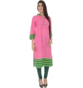 Pink & Green Cotton Kurti