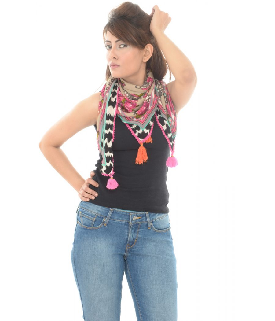 Accessorize Viscose Blend Paisley Print Tasseled Multi Scarf