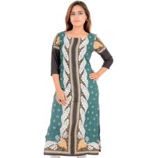W Cotton Leaves Printed Green/Multi Kurti