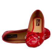 GMF Synthetic Leather Red Coloured Broad Toe Flat Bellies
