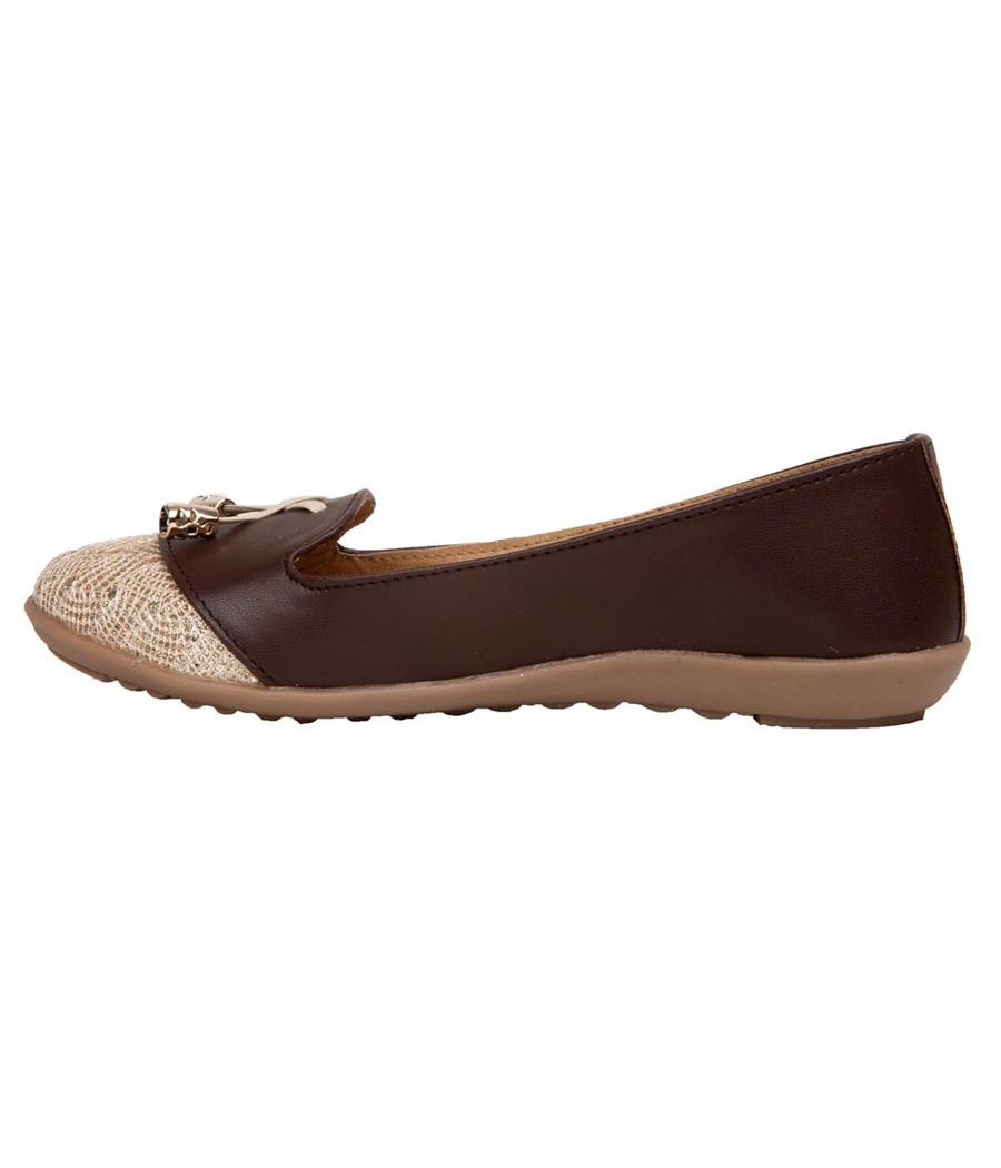 Rudra Collection Synthetic Leather Coffee Brown & Beige Broad Toe Flat Bellies
