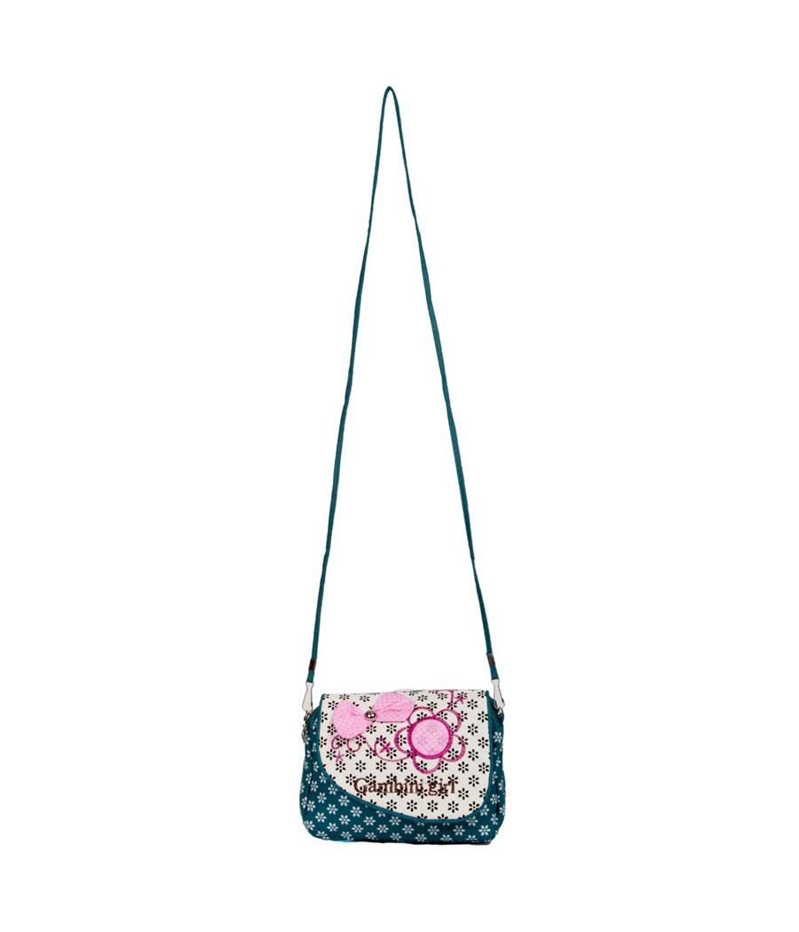 Envie  Printed Turquoise & White Zipper Closure Sling Bag