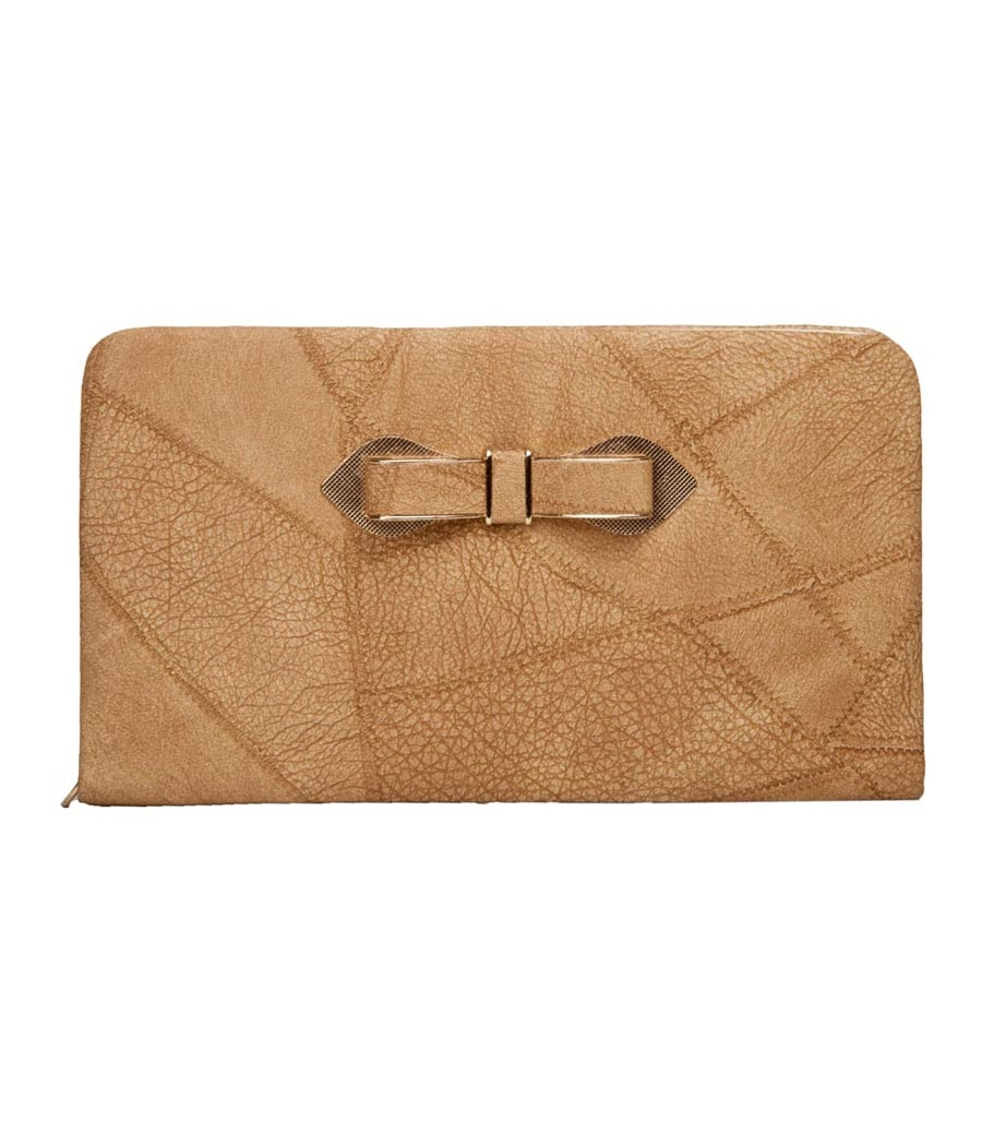 Envie Faux Leather Brown Coloured Zipper Closure Croc Pattern Clutch for Women