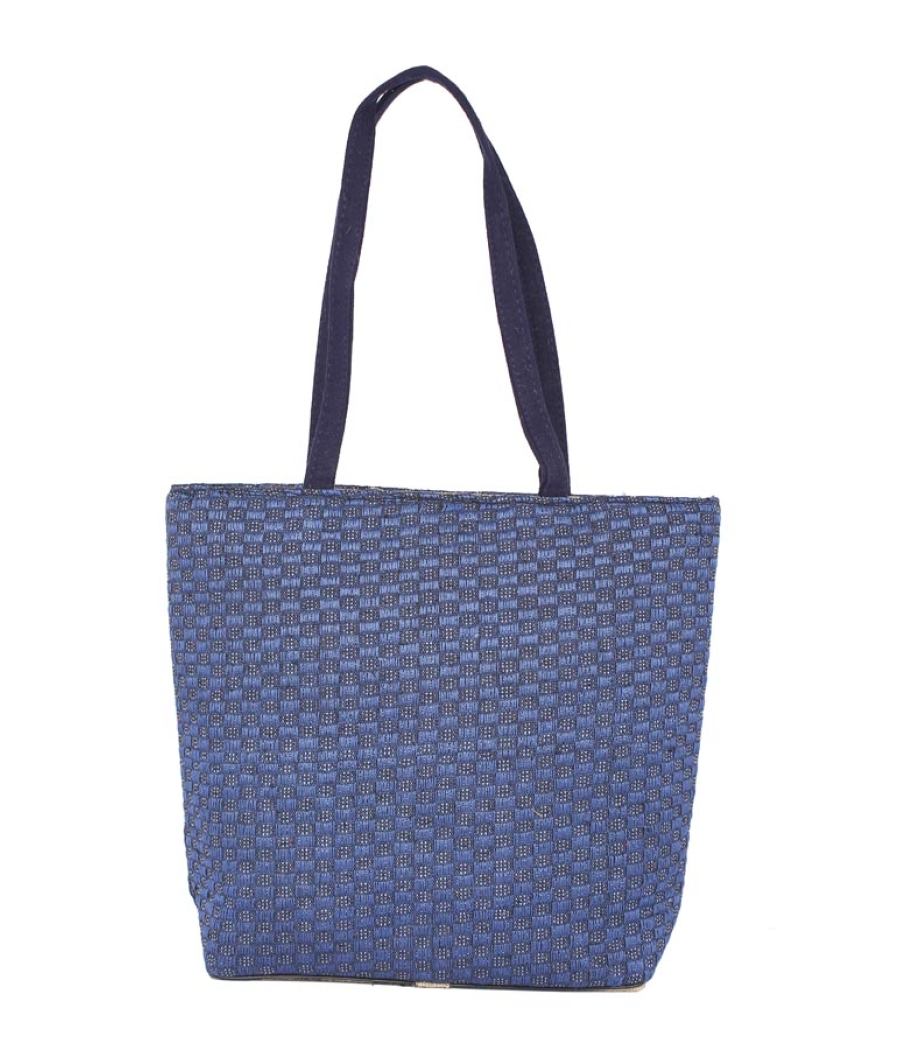 Aliado Jute Blue Coloured Zipper Closure Bag