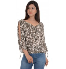 Estance Animal Print Blouson Cotton White/Brown Top