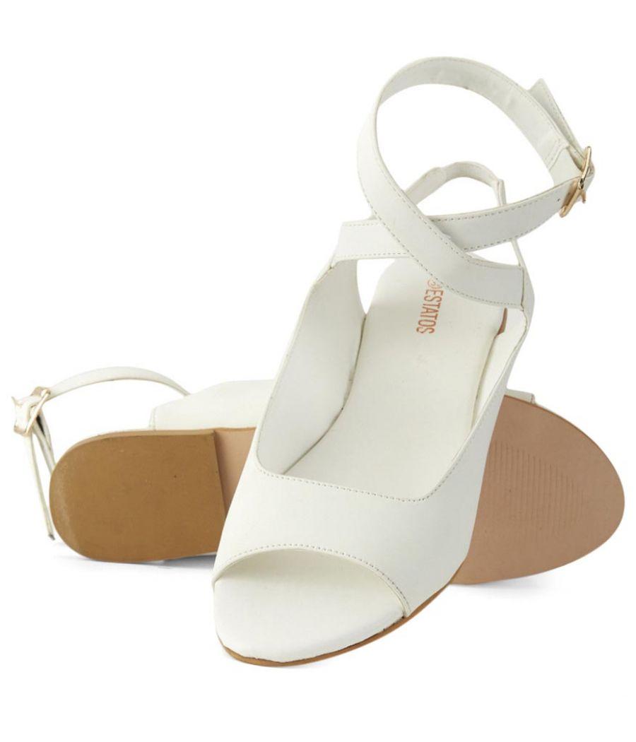 Estatos  White  Buckle Closure Ankle Strap Open Toe Flat Sandals