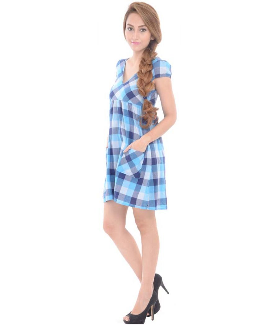 Blue Check Cotton Dress