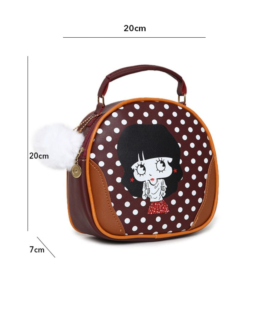 Envie Maroon Colour Printed Slingbag for College Girls