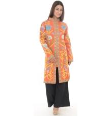 Orange Embroidered Woollen Kurta