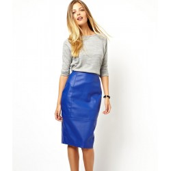 Asos Leather Plain Blue Pencil Skirt