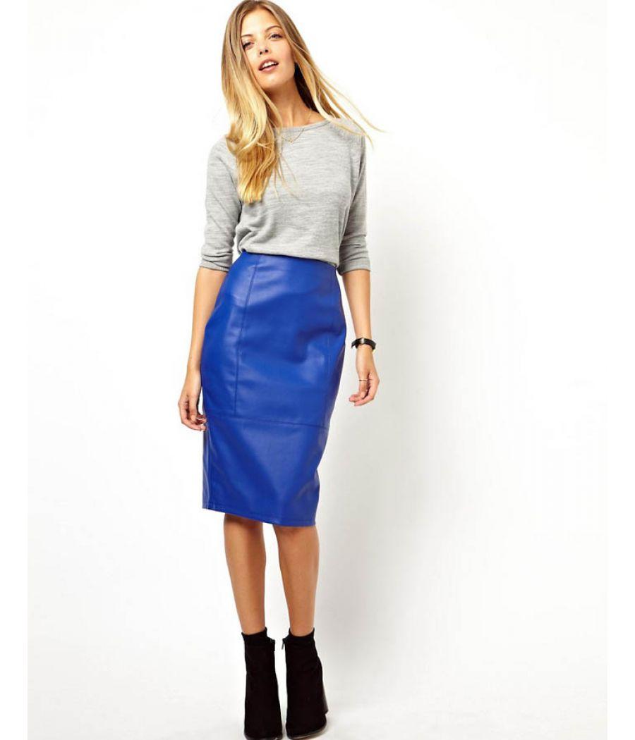 Asos Leather Plain Blue Pencil Skirt