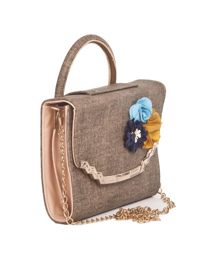 Envie Faux Leather Printed Brown Coloured Magnetic Snap Sling Bag