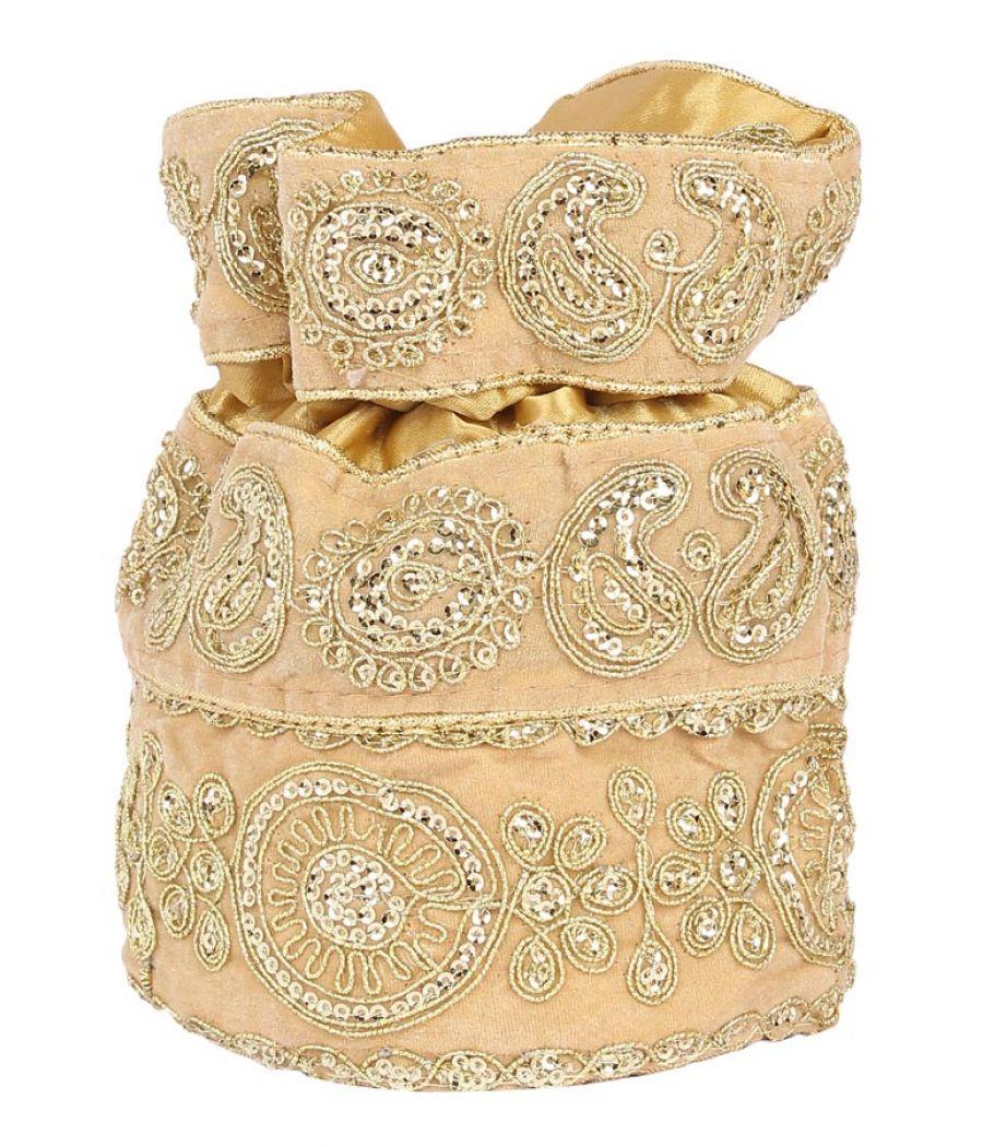 Aliado Velvet Embellished Gold Coloured Potli Bag