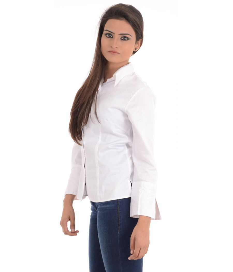 T M Jewin Cotton Solid White Shirt