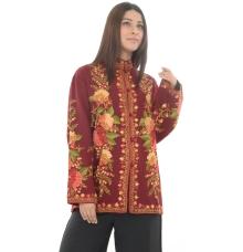 Maroon Embroidered Woollen Kurti