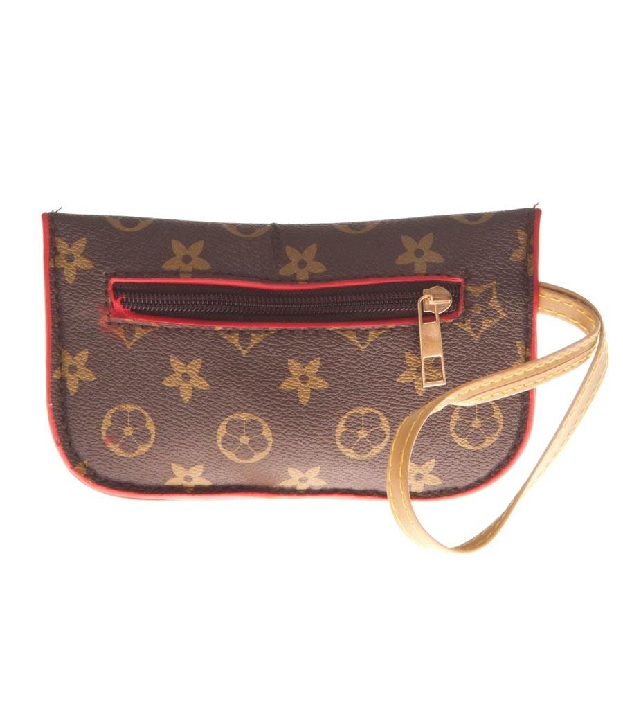 Aliado Faux Leather Printed Brown Zipper Closure Tote Bag