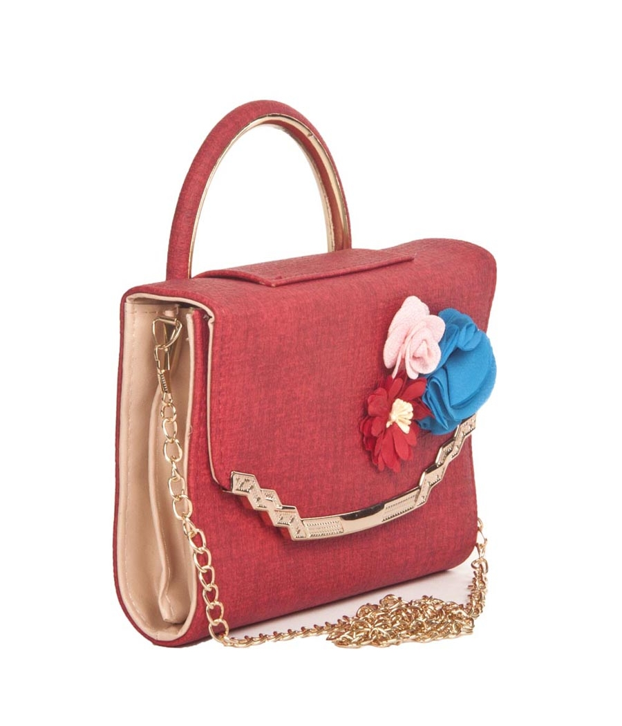 Envie Faux Leather Printed Red Coloured Magnetic Snap Sling Bag