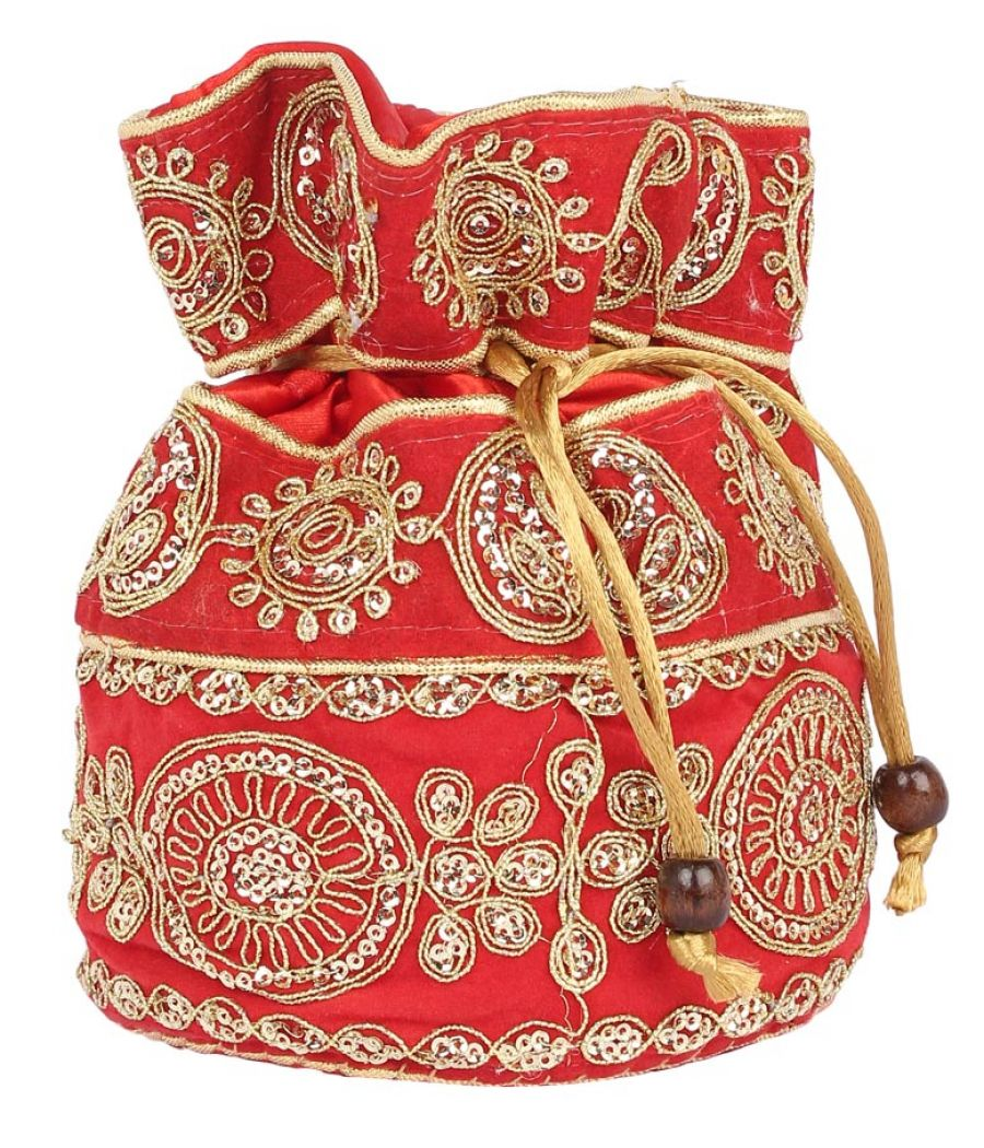 Aliado Velvet Embellished Red and Gold Coloured Potli Bag