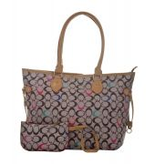 Aliado Faux Leather Printed Multi & Grey Zipper Closure Tote Bag