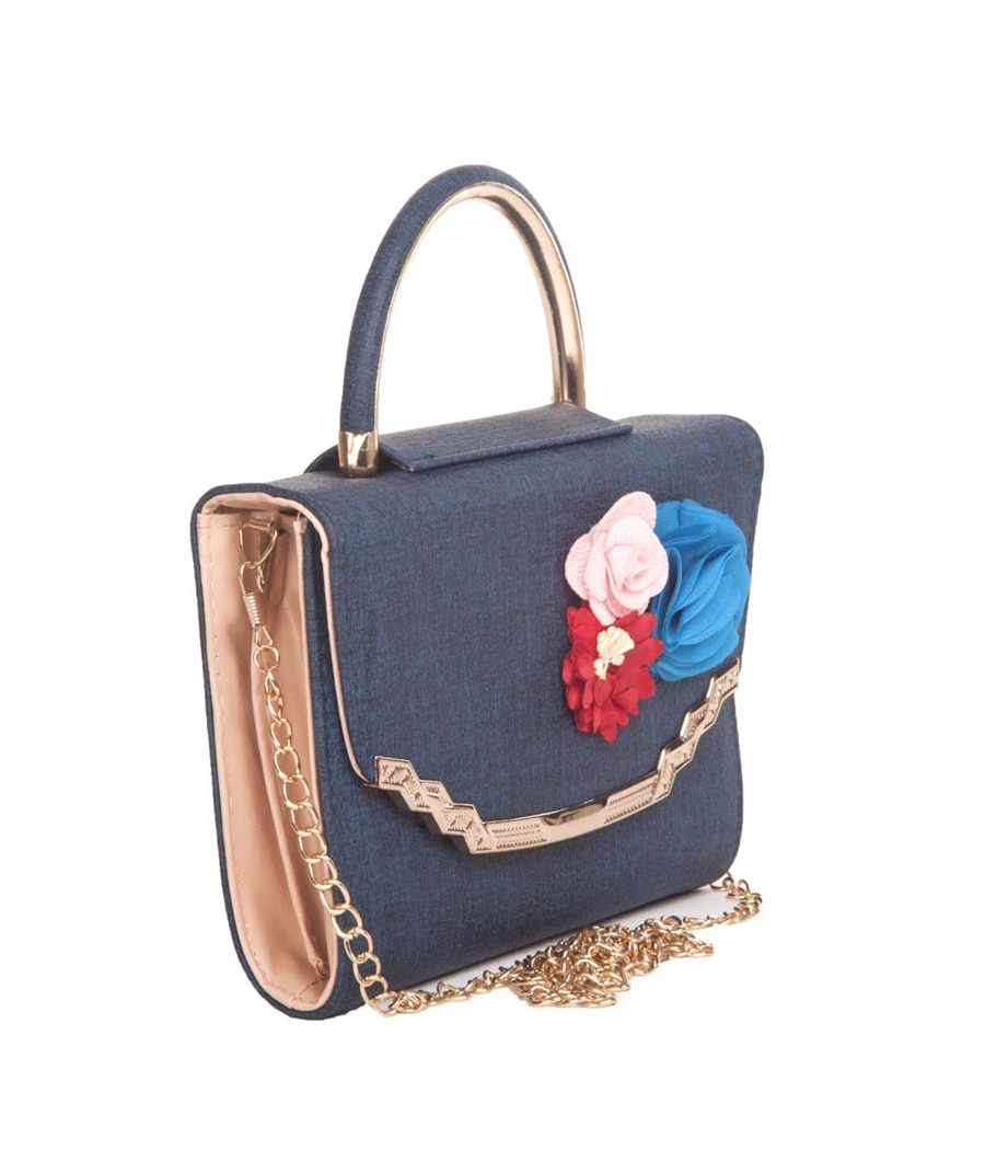 Envie Faux Leather Printed Blue Coloured Magnetic Snap Closure Clutch