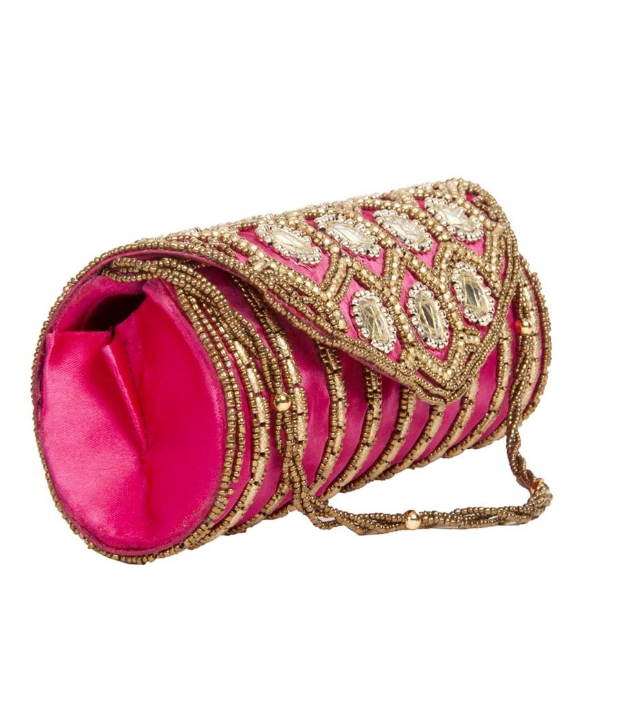 Envie Cloth/Textile/Fabric Embellished Pink Fold Over Clutch