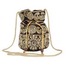 Aliado Velvet Embellished Black  and Gold Coloured Potli Bag