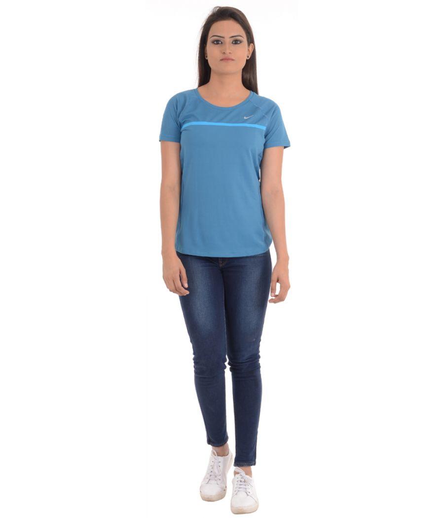 Adidas Blue Coloured Round Neck Top