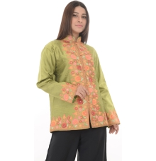Green Embroidered Cotton Silk Kurti