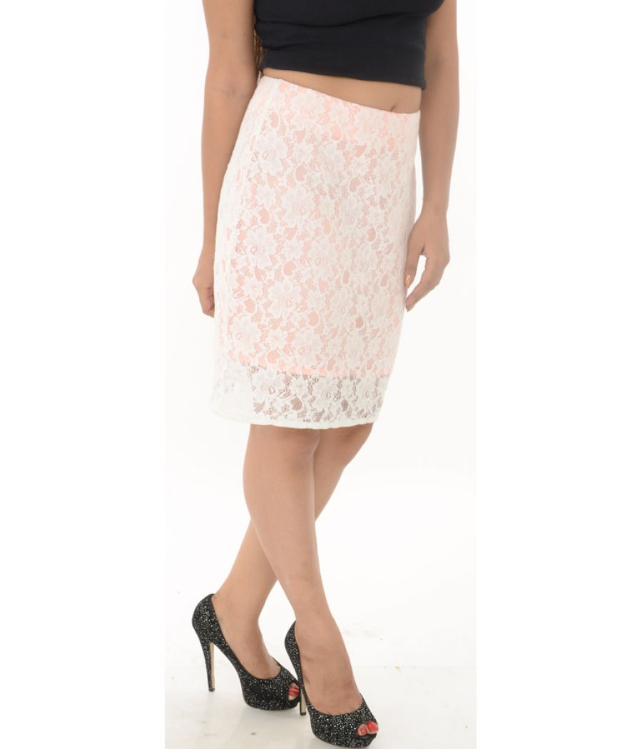 Asos Peach Lace Bodycon Skirt