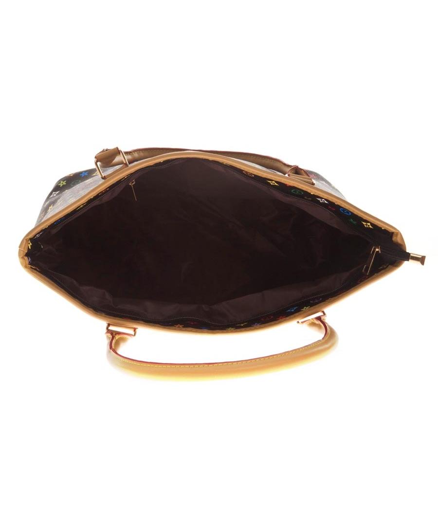 Aliado Faux Leather Printed Black & Multi Zipper Closure Handbag