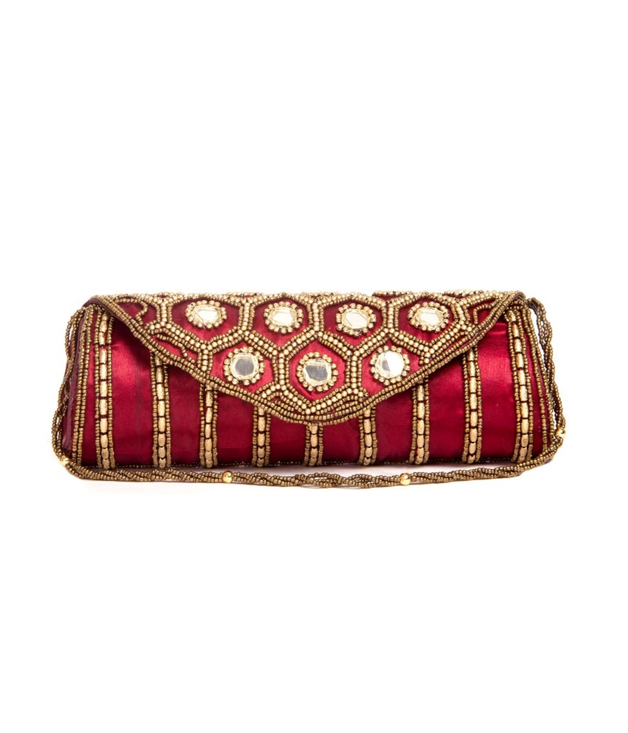 Envie Cloth/Textile/Fabric Embellished Maroon Fold Over Magnetic Snap Clutch
