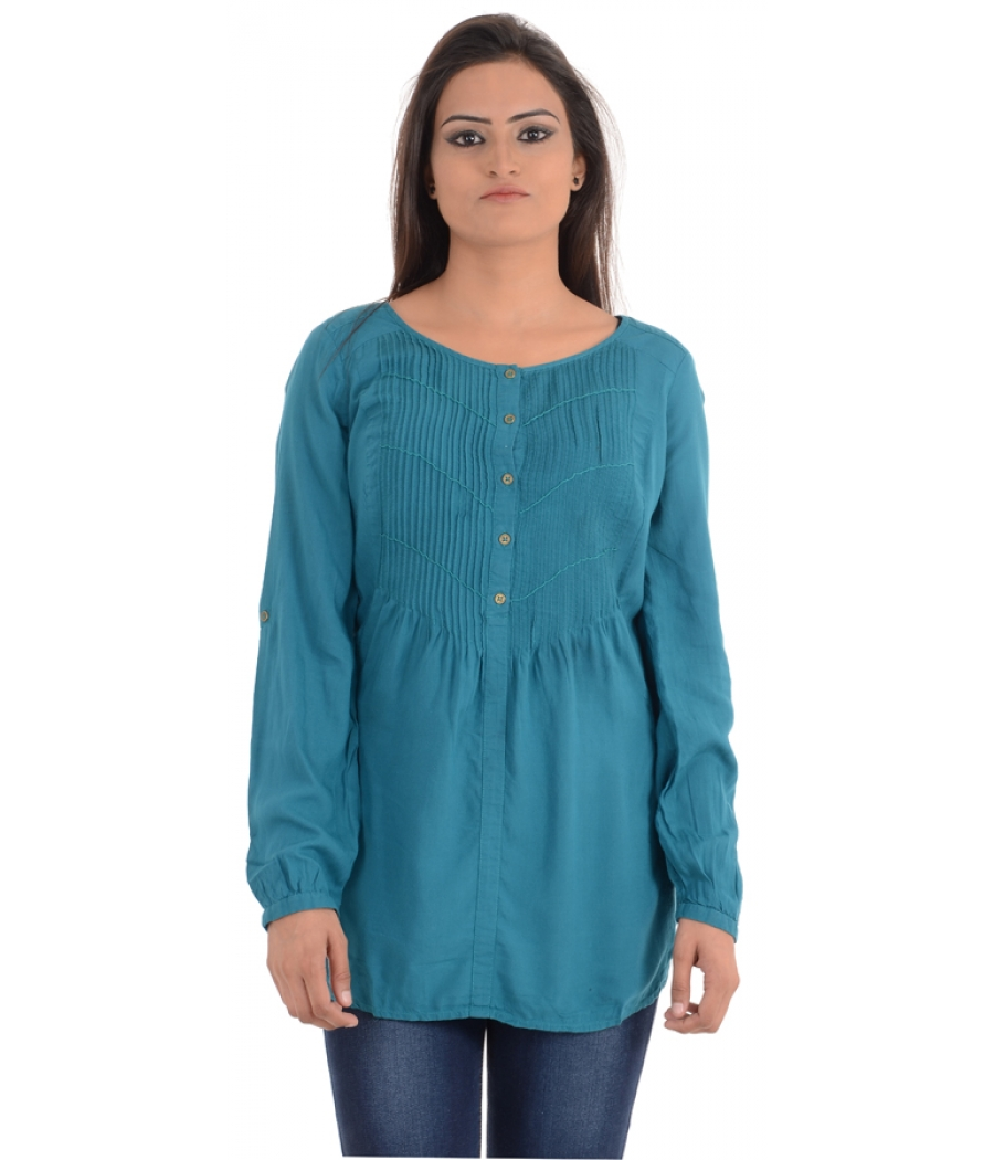 A Pea In The Pod Viscose Solid Sea Green Pleated Tunic