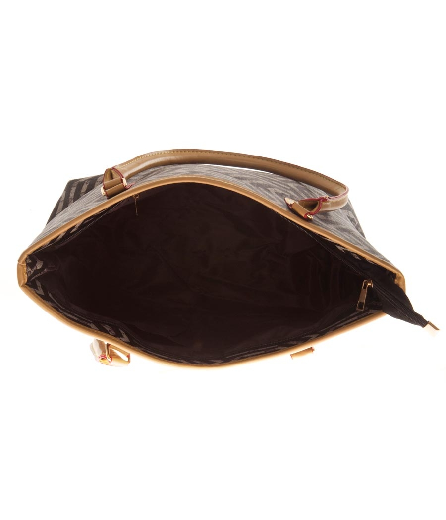 Aliado Faux Leather Printed Black Zipper Closure Tote Bag