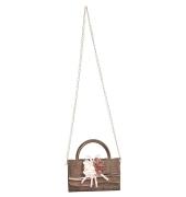 Envie Faux Leather Brown Embellished Fold Over Magnetic Snap Sling Bag
