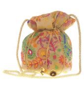 Envie Cloth/Textile/Fabric Cream & Multi Embroidered Potli Bag
