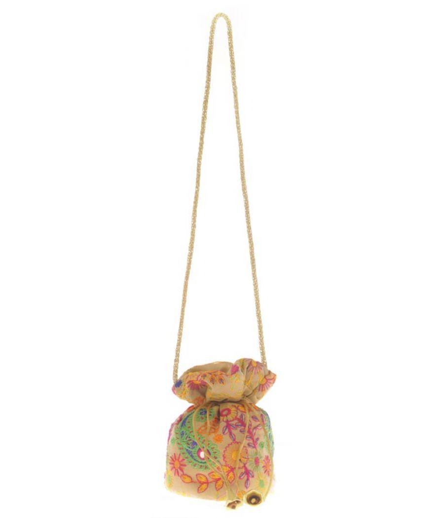 Envie Cloth/Textile/Fabric Cream & Multi Embroidered Potli Bag