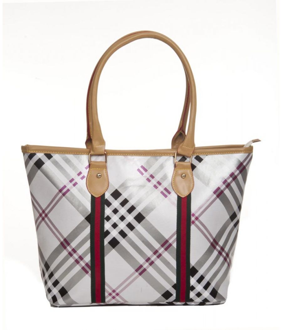 Aliado Faux Leather Printed White & Multi Zipper Closure Tote Bag