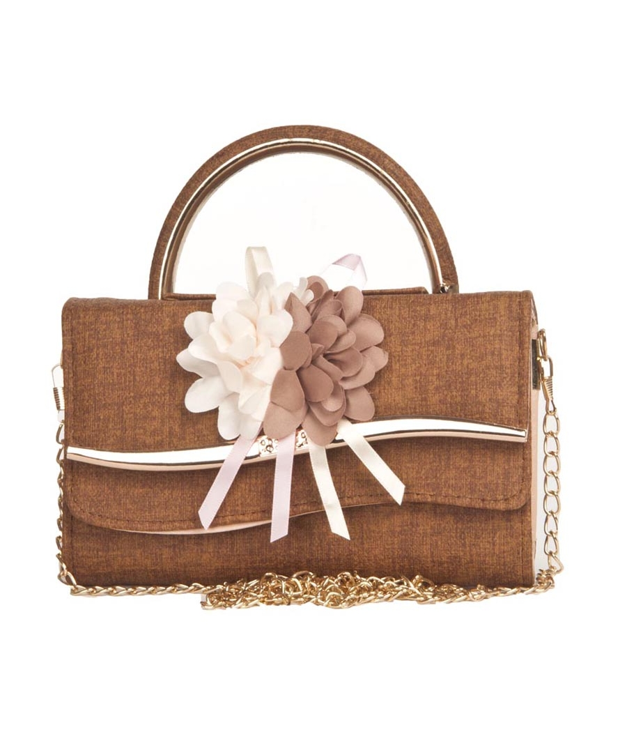 Envie Faux Leather Brown Embellished Magnetic Snap Minaudiere Style Sling Bag