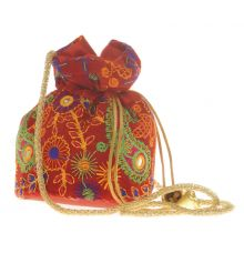 Envie Cloth/Textile/Fabric Red & Multi Embroidered Potli Bag